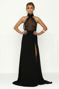 Honey Couture Black Sequin Halter Maxi w Split Formal Gown Dress