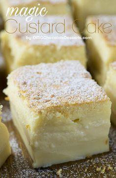 Vanilla Magic Custard Cake is melt-in-your-mouth soft and creamy dessert. Vanilla Magic Custard Cake is melt-in-your-mouth soft and creamy dessert. Vanilla Desserts, Easy Desserts, Chocolate Desserts, Custard Desserts, Vanilla Recipes, Homemade Desserts, Health Desserts, Banana Recipes, Cake Recipes