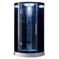 Image 1; 1600 Steam Shower Units, Heavy Duty Hinges, Dream Shower, Steam Generator, Contemporary Baths, Digital Timer, Rainfall Shower, Curved Glass, Hand Held Shower