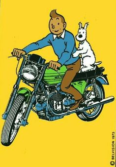 Tintin - On a Moto Guzzi! Moto Guzzi Motorcycles, Vintage Motorcycles, Honda Cb750, Tin Tin Cartoon, Comics Und Cartoons, Comic Art, Comic Books, Guzzi V7, Pub Vintage