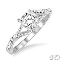 3/8 Ctw Diamond Engagement Ring with 1/4 Ct Round Cut Center Stone in 14K White Gold