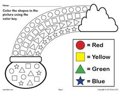 Patrick's Day themed shapes coloring worksheet is great for practicing shape recognition, color recognition, fine motor skills, and more with your preschoolers and kindergartners. Free Preschool, Preschool Worksheets, Preschool Learning, In Kindergarten, Preschool Activities, Preschool Shapes, Teaching, Shapes Worksheets, Coloring Worksheets