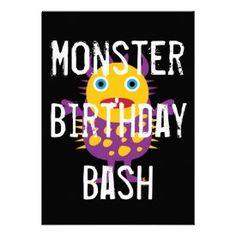 Purple Black Monster Birthday Party Invitations