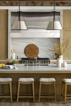 White Oak Kitchen, Glazed Brick, Kitchen Stools, Kitchen Counters, Kitchen Islands, Kitchen Cabinets, Bar Faucets, Door Paint Colors, Decoration