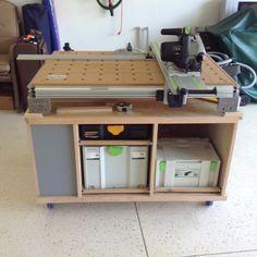 Combination MFT and Systport Workshop Storage, Workshop Organization, Tool Storage, Rope Shelves, Hanging Shelves, Wooden Shelves, Workbench Plans, Woodworking Workbench, Woodworking Shop