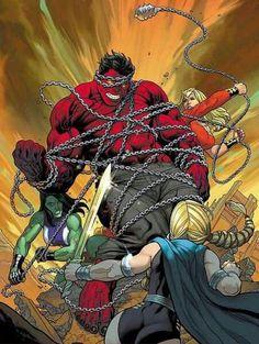 Red Hulk vs Valkyrie, She-Hulk and Thundra