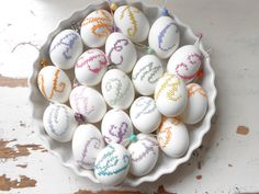 embroidered eggs...