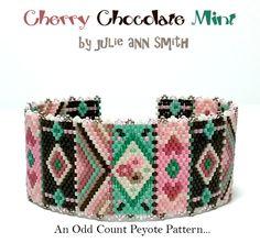 Julie Ann Smith Designs CHERRY CHOCOLATE MINT Odd Count Peyote Bracelet Pattern by JULIEANNSMITHDESIGNS on Etsy