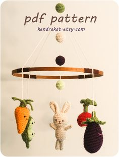 Little Veggie Baby Mobile Crochet Pattern. $6.00, via Etsy.