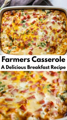 Start your day off with a farmers casserole for breakfast. It's a delicious use of eggs, cheese, hash browns, and more. # breakfast casserole with hashbrowns Sausage Hashbrown Breakfast Casserole, Overnight Breakfast Casserole, Baked Egg Casserole, Egg Bake With Hashbrowns, Ham Egg Bake, Breakfast Egg Bake, Breakfast Casserole With Bread, Make Ahead Breakfast Casserole, Brunch Casserole
