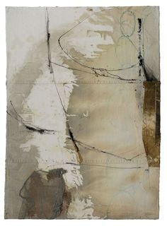 """Fran Stiles - """"Mountain Ridge"""", 40"""" x 30"""", Rigid, yet flexible layered constructions of paper, cloth, paint, gesso, paint, ink and pencil held together with stitching, embroidery, and medium."""