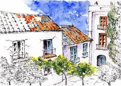 Village Houses in Torrox Pueblo, Andalucia, Spain. A lovely unspoilt village with a lively plaza and good restaurants and hotels. Pen And Wash, Framed Prints, Canvas Prints, Pen And Watercolor, Village Houses, London City, Painting & Drawing, Spain, Tapestry