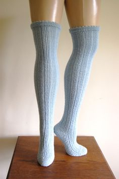 Handknit Ice Blue Wool Ribbed Over The Knee Socks.