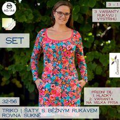 Dámské triko s běžným rukávem – SET střihů – – Caramilla. Lily Pulitzer, Sewing, Clothes, Dresses, Fashion, Haute Couture, Simple Lines, Outfits, Vestidos