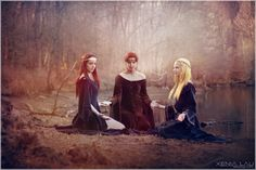 """Nornas ::Kuld, Berdandi & Urd:: Sisters Three, Goddesses of Fate and Destiny. They care for the tree of life Yggdrasil. You will find them at the base of Yggdrasil in the realm of Asgard. Each day the Norns sprinkle water from the well of Urd and mised clay to place on the roots of Yggdrasil to prevent decay or at least slow it down. """"Urd is the Crone and represents the past. Verdandi is the mother and represents the present. Skuld is the maiden and is always looking into the future."""