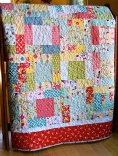 Quilt Baby Toddler Bluebird Park Moda Scrappy by PiecesOfPine