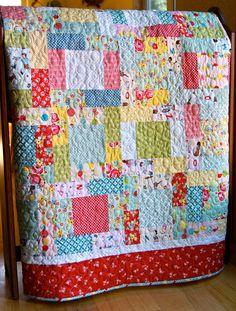 Quilt Baby Toddler Lap Throw Sidewalks Fabric Riley Blake Nursery Cot Crib Children Colorful