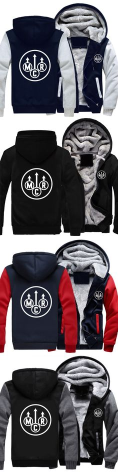 Free Shipping USA size Men Women My Chemical Romance MCR Zipper Jacket Sweatshirts Thicken Hoodie Coat Clothing Unisex Casual