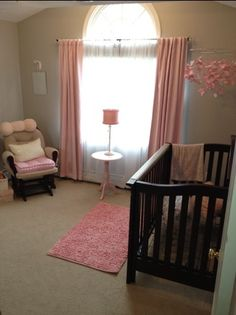 Project Nursery - Pink and Grey Girls Room on a budget blushmamas.com