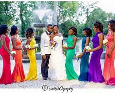 I can't even count the number of reasons why I love this. ❤💙💚💛💜 ————————————- Photo courtesy of now that's a chic Rainbow Bridesmaid Dresses, Rainbow Wedding Dress, Bridesmaid Dress Colors, Colored Wedding Dresses, Wedding Bridesmaid Dresses, Brides And Bridesmaids, Multicolor Wedding, Wedding Designs, Wedding Ideas