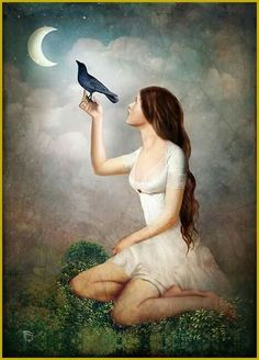 """The Moon Asked The Crow"" Digital Art by Christian Schloe posters, art prints, canvas prints, greeting cards or gallery prints. Find more Digital Art art prints and posters in the ARTFLAKES shop. Crow Art, Creation Photo, Whimsical Art, Surreal Art, Art Forms, Fantasy Art, Art Photography, Digital Art, Illustration Art"