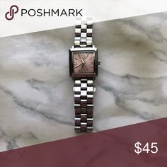 Marc Jacobs Silver Square Watch Stainless steel, silver with square pink face, adjustable, new battery required, worn a few times, good condition Marc Jacobs Accessories Watches