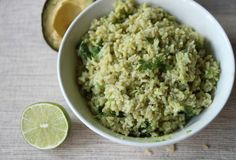 Creamy avocado rice. Just made this for dinner with fried eggs on top. So yummy and incredibly fast and easy.