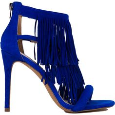 Steve Madden Fringly Fringed Blue Suede Heeled Sandals ($130) ❤ liked on Polyvore featuring shoes, sandals, heels, blue suede, slip on sandals, fringe sandals, open toe sandals, suede fringe sandals and strappy sandals