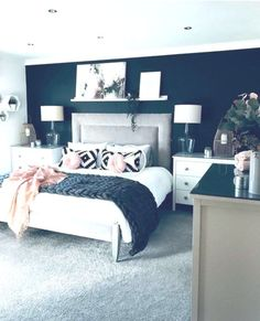Master bedroom colors - 30 Elegant And Easy DIY Wall Decor Ideas For Bedroom Fancy Bedroom, Master Bedroom Design, Dream Bedroom, Home Decor Bedroom, Bedroom Designs, Diy Bedroom, Master Bedroom Color Ideas, Navy Master Bedroom, Master Bedrooms