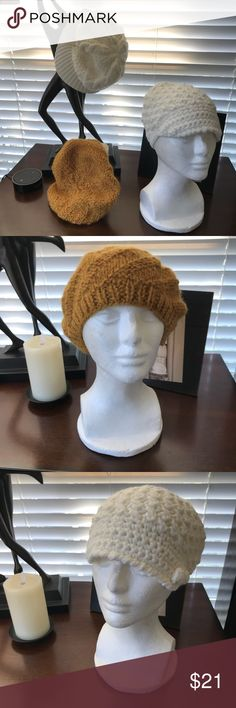 3 Cute Winter Hats All unworn! Mustard still has tag. Small white cap purchased in Spain. Did not wear the white caps but tried them on hence some markings from powder on the inside. All looks good. Downsizing! Accessories Hats