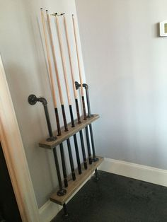 industrial style pool cue rack - Google Search