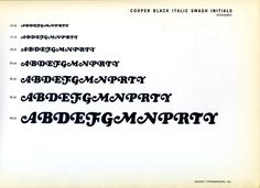 Cooper Black alternate swash initials type specimen