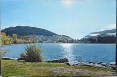 Queenstown Lake, New Zealand – Oil painting on 91cm x 61cm canvas New Zealand Lakes, Ben Lomond, Queenstown New Zealand, Lake Wakatipu, New Zealand Landscape, Milford Sound, Mountains, Oil Paintings, Canvas