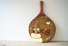Christmas Snowman Decor~ Ping Pong Paddle~ Hand Painted Snowman~ Just Chillin!
