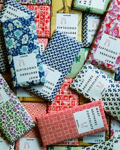 stocking stuffers: beautifully wrapped chocolate bars.