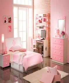 Sweet pink color theme living room ideas for teenage girls.