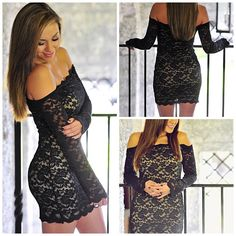 How AMAZING is The Black Cadillac Lace Dress?! Black lace dress with a nude lining underneath, an off the shoulder style, and tight fit! Make him drool on your next date in this hot little number! Just $35.99 with FREE shipping at shophopes.com!  #newarrivals #shophopes #freeshipping (via #spinpicks)