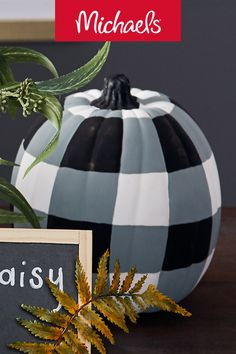 Make this buffalo check pumpkin project it is a cute and trendy decor pumpkin project.