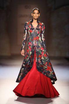 Gaurav Gupta at India Couture Week 2014 - floral rose long jacket blouse lehnga