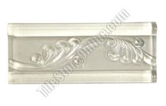 Glass Tile Liner Border - 2 1/2 X 6 Glass Leaf Relief Liner Deco Border - 2.5X6 Decorative Glass Liner Border - White Clear - Glossy