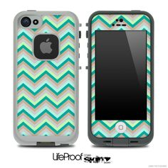 LifeProof Case iPhone 5C | ... Subtle Greens Chevron Pattern for the iPhone 5 or 4/4s LifeProof Case