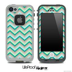 LifeProof Case iPhone 5C | ... Subtle Greens Chevron Pattern for the iPhone 5 or 4/4s LifeProof Case