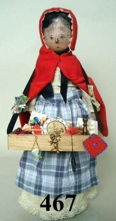 467: Wooden Peddler Doll : Lot 467