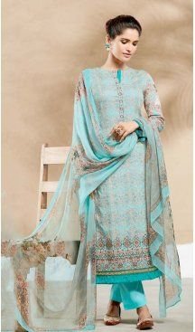 Pure Cotton Turquoise Color Embroidery Salwar Kameez | FH578385503