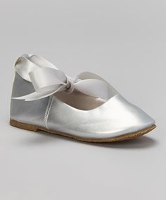 Look at this Kid's Dream Silver Bow Leather Flat on #zulily today!