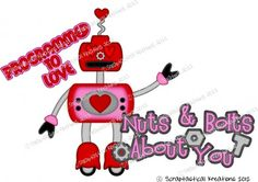 Robot Nuts & Bolts About You SVG patterns paper piecing cutting files.