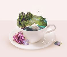 Tea Time, by Cindy Poupelain Photo manipulation and digital painting