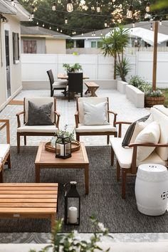 Backyard Makeover Reveal: Riverside Retreat - - This post is part of a paid collaboration with Lowe's Home Improvement. All opinions are my own. Don't miss Part 2 of this makeover! Today is the culmination of months of labor intensive, phy…. Outdoor Decor, Backyard Design, House With Porch, Patio Furniture, Backyard Makeover, Backyard Decor, Patio Design, Cool Apartments, Apartment Balcony Decorating