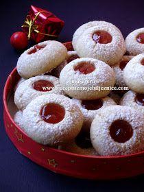 Gumbeki s pekmezom Mini Desserts, Christmas Desserts, Just Desserts, Easy Cookie Recipes, Sweet Recipes, Dessert Recipes, Kolaci I Torte, Torte Recepti, Torte Cake