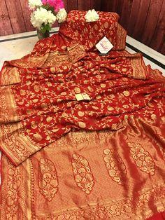 Red Saree Wedding, Bridal Hairstyle Indian Wedding, Bridal Lehenga, Sabyasachi Sarees, Georgette Sarees, Silk Sarees, Saree Designs Party Wear, Vermilion Red, Latest Saree Blouse